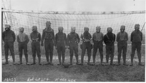 World_War_I,_British_soccer_team_with_gas_masks_1916